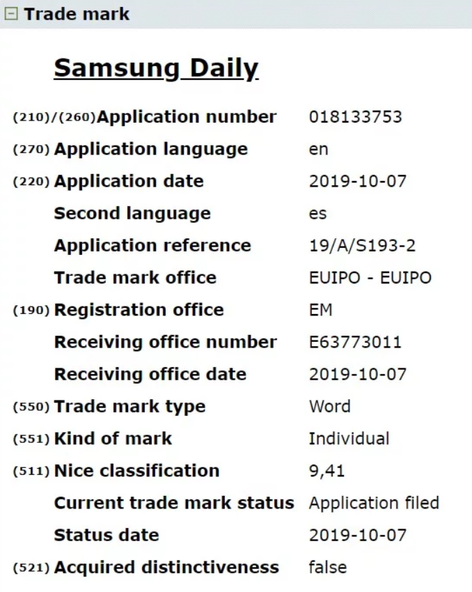 Samsung Daily Application